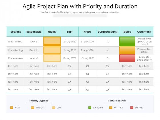 Agile Project Plan With Priority And Duration Ppt PowerPoint Presentation Gallery Guidelines PDF