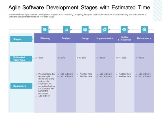 Agile Software Development Stages With Estimated Time Infographics PDF