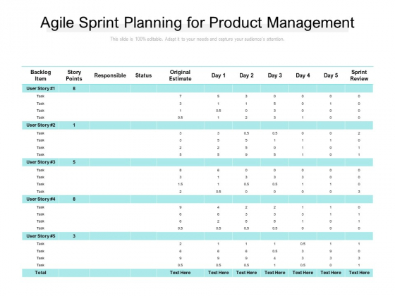 Agile Sprint Planning For Product Management Ppt PowerPoint Presentation Ideas File Formats