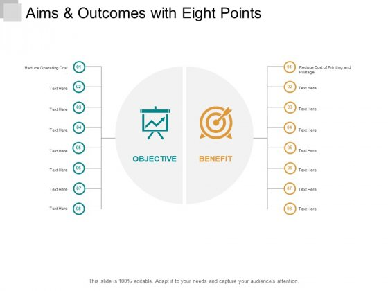 Aims And Outcomes With Eight Points Ppt PowerPoint Presentation