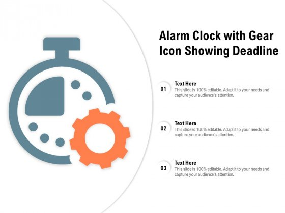 Alarm Clock With Gear Icon Showing Deadline Ppt PowerPoint Presentation Infographics Demonstration
