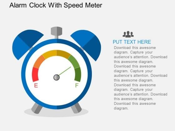 Alarm Clock With Speed Meter Powerpoint Templates