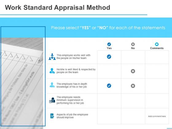 All About HRM Work Standard Appraisal Method Ppt Slides Designs Download PDF