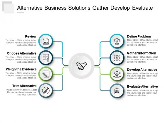 Alternative Business Solutions Gather Develop Evaluate Ppt Powerpoint Presentation Guide
