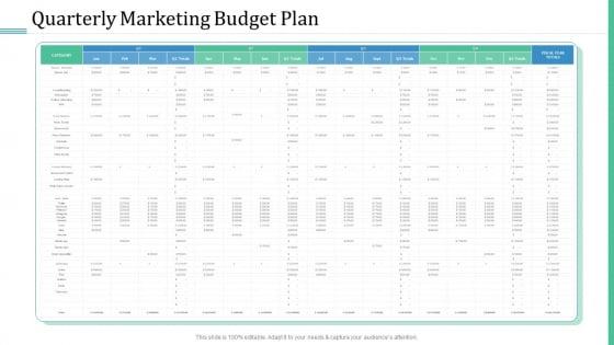 Alternative Distribution Advertising Platform Quarterly Marketing Budget Plan Themes PDF