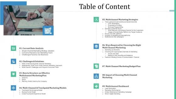Alternative Distribution Advertising Platform Table Of Content Background PDF