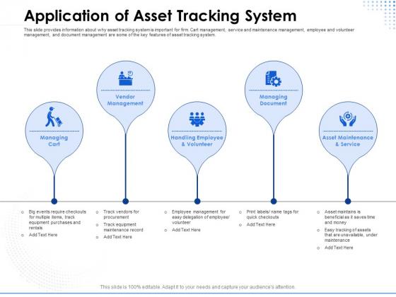 Amusement Event Coordinator Application Of Asset Tracking System Ppt PowerPoint Presentation Show Design Ideas PDF