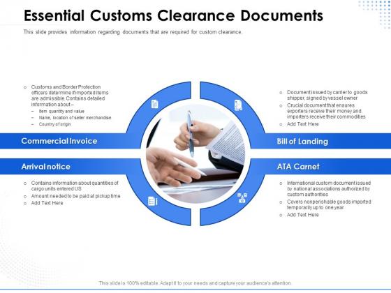 Amusement Event Coordinator Essential Customs Clearance Documents Ppt PowerPoint Presentation Inspiration Graphics Download PDF