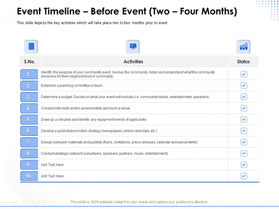 Amusement Event Coordinator Event Timeline Before Event Two Four Months Ppt PowerPoint Presentation Infographic Template Background Image PDF