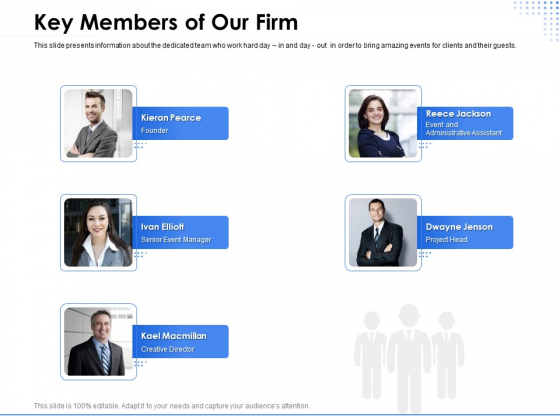 Amusement Event Coordinator Key Members Of Our Firm Ppt PowerPoint Presentation Ideas PDF