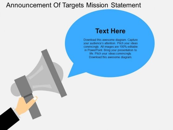 announcement of targets mission statement powerpoint template