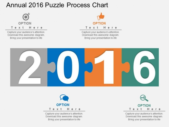 Annual 2016 Puzzle Process Chart Powerpoint Template
