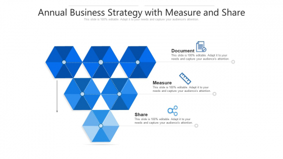 Annual Business Strategy With Measure And Share Ppt PowerPoint Presentation File Graphics Tutorials PDF