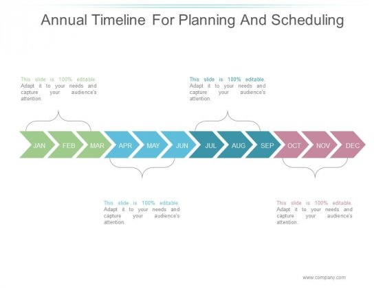Annual Timeline For Planning And Scheduling Ppt PowerPoint Presentation Icon