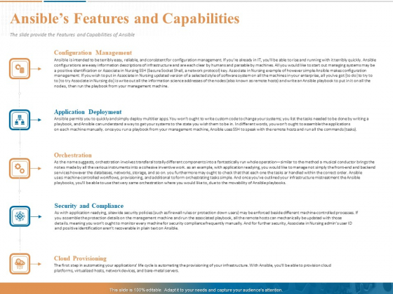 Ansible Hands On Introduction Ansibles Features And Capabilities Ppt PowerPoint Presentation Styles Icons PDF