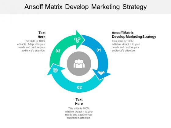 Ansoff Matrix Develop Marketing Strategy Ppt PowerPoint Presentation Summary Slide Cpb