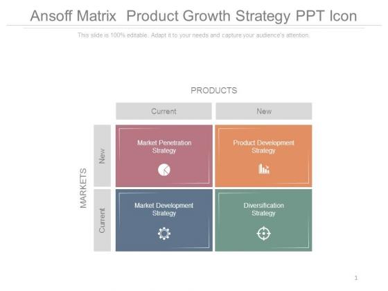 Ansoff Matrix Product Growth Strategy Ppt Icon