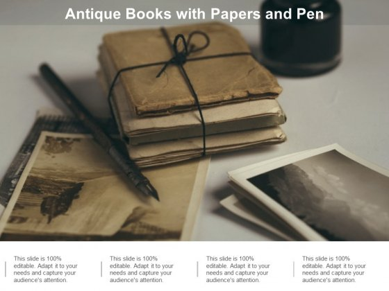 Antique Books With Papers And Pen Ppt PowerPoint Presentation Ideas Objects Cpb