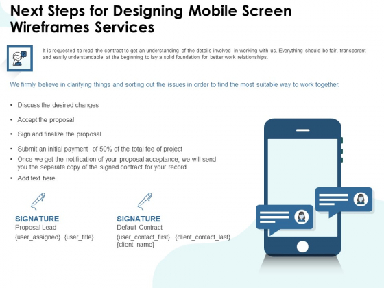 App Wireframing Next Steps For Designing Mobile Screen Wireframes Services Formats PDF