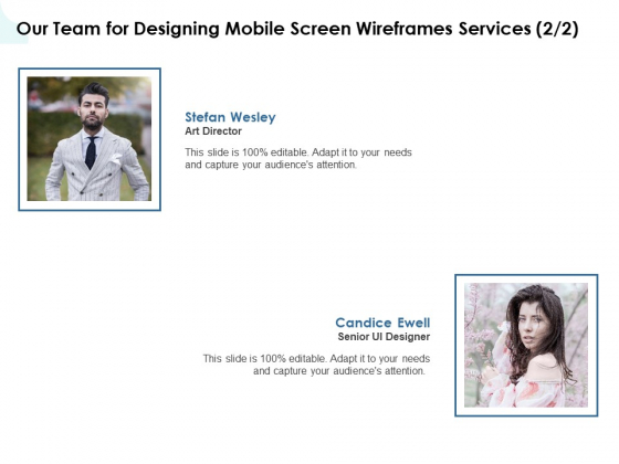 App Wireframing Our Team For Designing Mobile Screen Wireframes Services Structure PDF