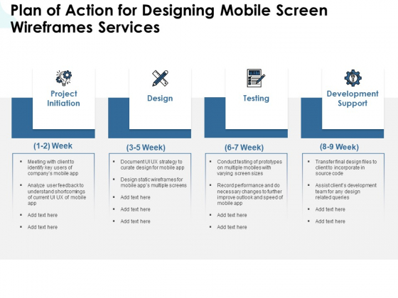 App Wireframing Plan Of Action For Designing Mobile Screen Wireframes Services Brochure PDF