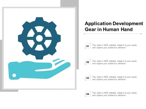 Application Development Gear In Human Hand Ppt PowerPoint Presentation Model Smartart