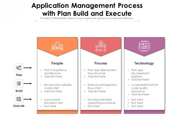 Application Management Process With Plan Build And Execute Ppt PowerPoint Presentation File Slide Portrait PDF