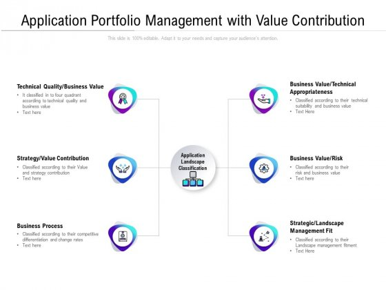 Application Portfolio Management With Value Contribution Ppt PowerPoint Presentation Infographics Grid