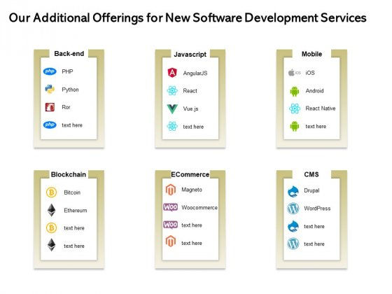 Application Technology Our Additional Offerings For New Software Development Services Topics PDF