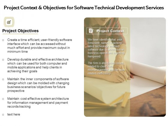 Application Technology Project Context And Objectives For Software Technical Development Services Microsoft PDF