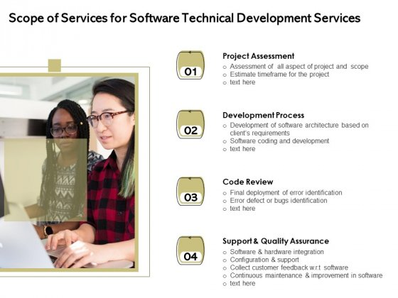 Application Technology Scope Of Services For Software Technical Development Services Designs PDF
