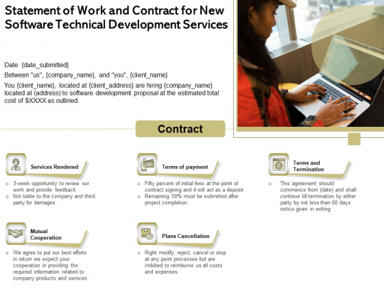 Application Technology Statement Of Work And Contract For New Software Technical Development Services Elements PDF