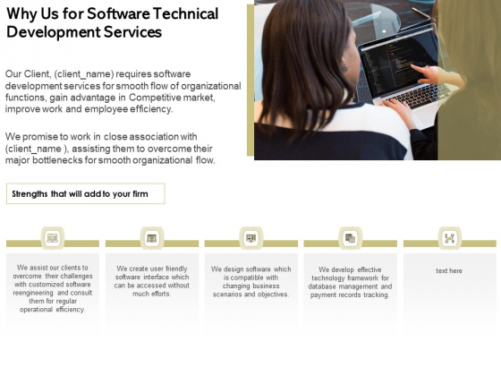 Application Technology Why Us For Software Technical Development Services Clipart PDF