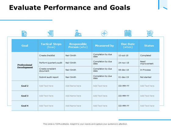 Approaches Talent Management Workplace Evaluate Performance And Goals Brochure PDF