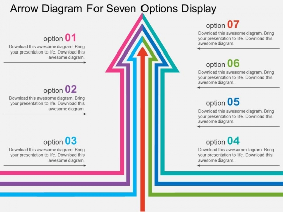 Arrow Diagram For Seven Options Display Powerpoint Template