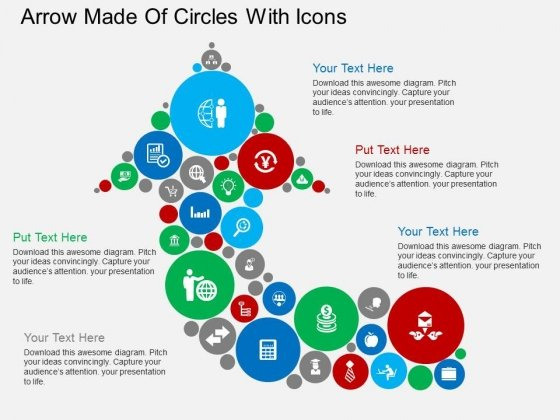 Arrow Made Of Circles With Icons Powerpoint Templates