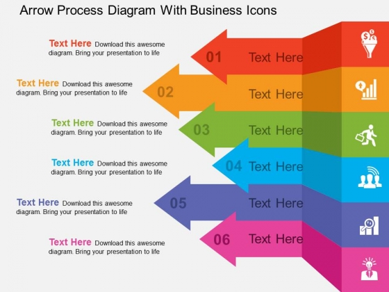 Arrow Process Diagram With Business Icons Powerpoint Templates