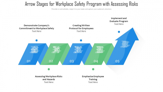 Arrow Stages For Workplace Safety Program With Assessing Risks Ppt PowerPoint Presentation File Graphics Download PDF