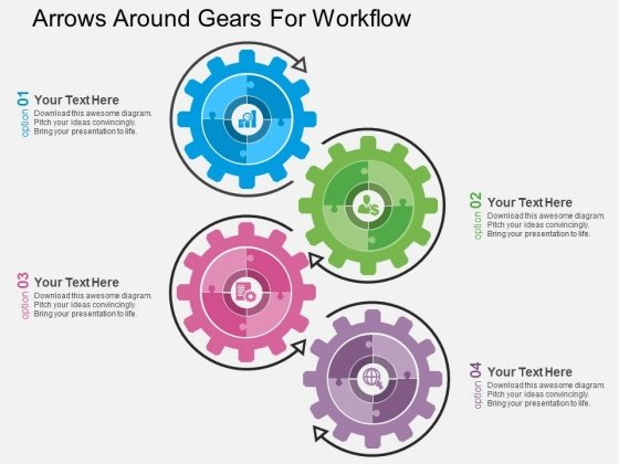 arrows around gears for workflow powerpoint templates - powerpoint, Presentation templates