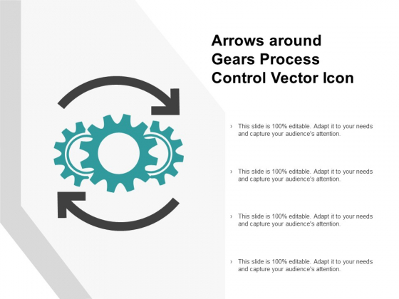 Arrows Around Gears Process Control Vector Icon Ppt PowerPoint Presentation Professional Show