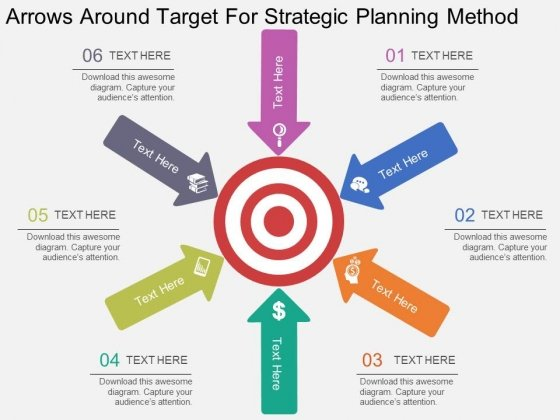 Arrows Around Target For Strategic Planning Method Powerpoint Template