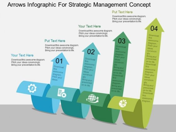 Arrows Infographic For Strategic Management Concept Powerpoint Template