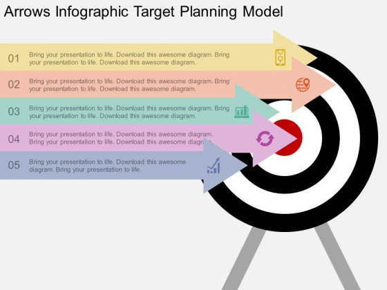 Arrows Infographic Target Planning Model Powerpoint Template