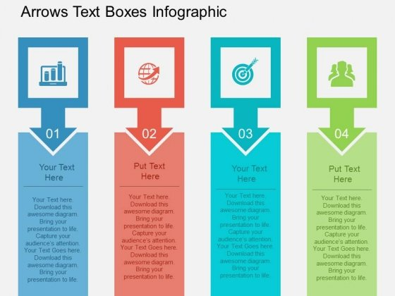 Arrows Text Boxes Infographic Powerpoint Template