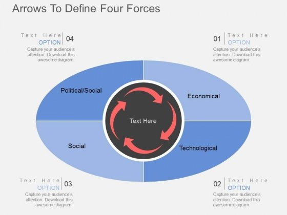 Arrows To Define Four Forces Powerpoint Templates