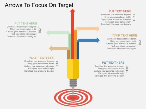 Arrows To Focus On Target Powerpoint Template