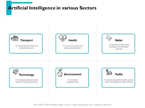Artificial Intelligence In Various Sectors Ppt PowerPoint Presentation Pictures Portrait