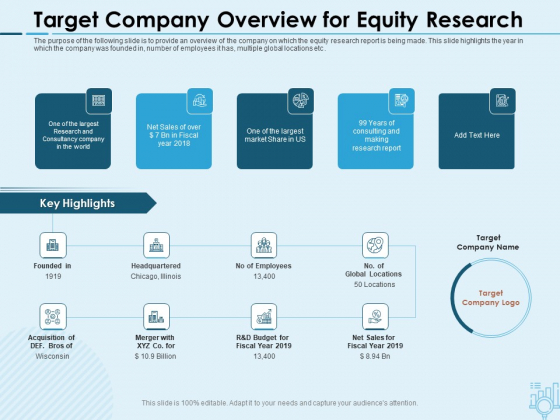 Assessing Stocks In Financial Market Target Company Overview For Equity Research Ppt PowerPoint Presentation File Vector PDF