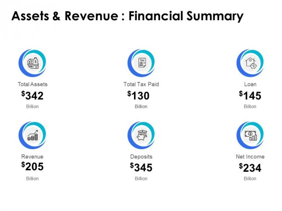 Assets And Revenue Financial Summary Ppt PowerPoint Presentation File Example Introduction