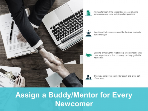 assign a buddy mentor for every newcomer ppt powerpoint presentation infographics gallery